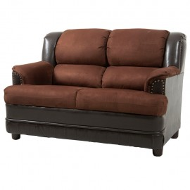 Love Seat Dolzen tapizado en Suade color Cafe